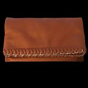 Vintage Faux Leather Fold-Over Clutch